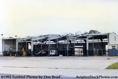 1992 - Hurricane Andrew roof damage to the Sonic Aviation hangar