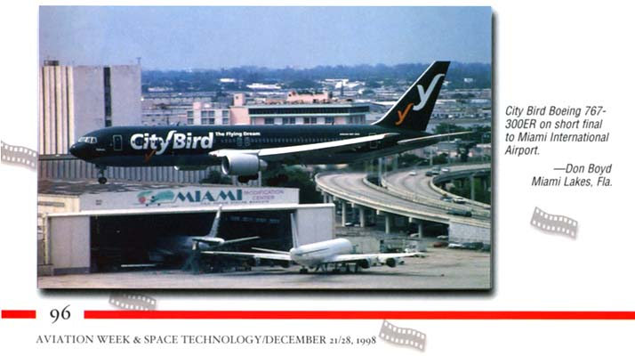 1998 - Aviation Week & Space Technology Annual Photo Contest Issue - CityBird landing