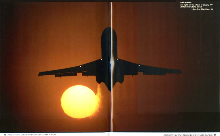 1999 - Aviation Week & Space Technology Annual Photo Contest Issue - 1st Place in Civil Category, full double page centerfold