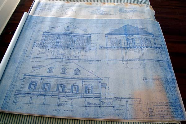 2007 - Blueprints for Mosquito Lagoon Coast Guard Station stock stock photo #0874