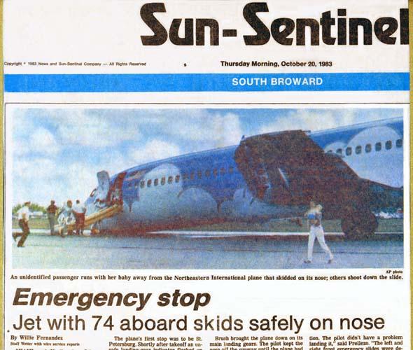 1983 - Sun Sentinel - Northeastern B727-21 N357PA landing incident and evacuation