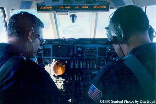 1990 - CDR Bill Hayes (left) and co-pilot on USCG HU-25 Falcon flight from CG Air Station Savannah to NAS Guantanamo Bay