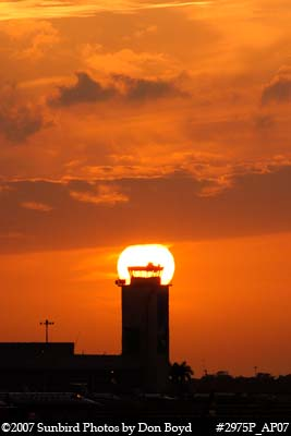 2007 - Opa-locka Executive Airports abandoned control tower at sunset aviation stock photo #2975P