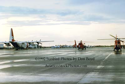1992 - Coast Guard operations after Hurricane Andrew - HC-130H and two HH-65s