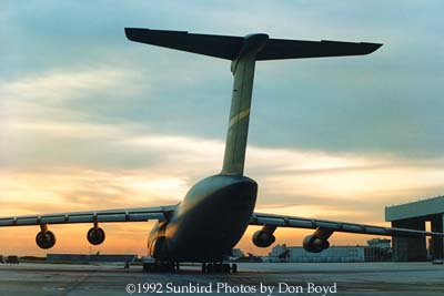 1992 - Sunset behind USAF C-5A parked on the former Eastern maintenance base at Miami International Airport