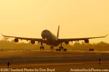 2007 - Iberia Airlines Airbus A340-313 EC-GJT airline sunset aviation stock photo #3066