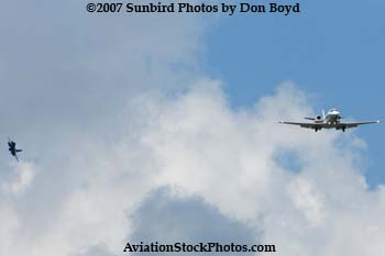 Executive Jet Aviation Cessna 560 Excel and USAF F-16 Fighting Falcon stock photo #3453