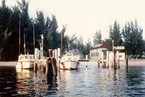 1973 - CG-30592 and CG-40485 at the docks at Coast Guard Station Lake Worth Inlet