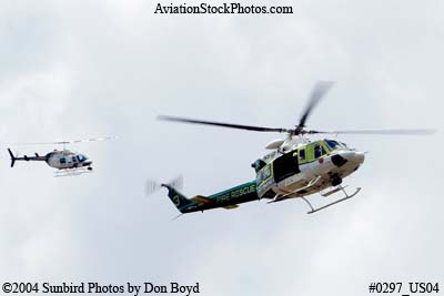 2004 - Miami-Dade Police and Fire helicopters looking for a drowning victim stock photo #0297