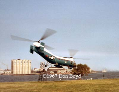 1967 - USAF Piasecki H-21 helo lifting off from Ft. McHenry, Baltimore, MD
