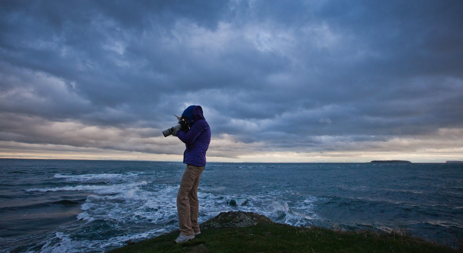Bird Photographer At Work<br>East Point, Saturna Island <br>(Saturna_122212_0370-2.jpg)