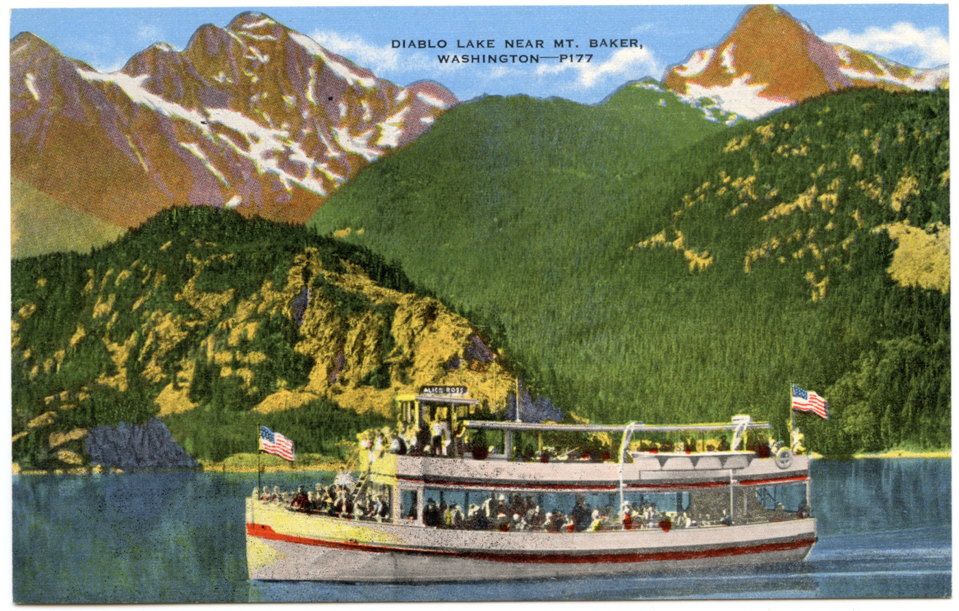 The Alice Ross Tour Boat On Diablo Lake <br> (NCpostcard_007-3.jpg)