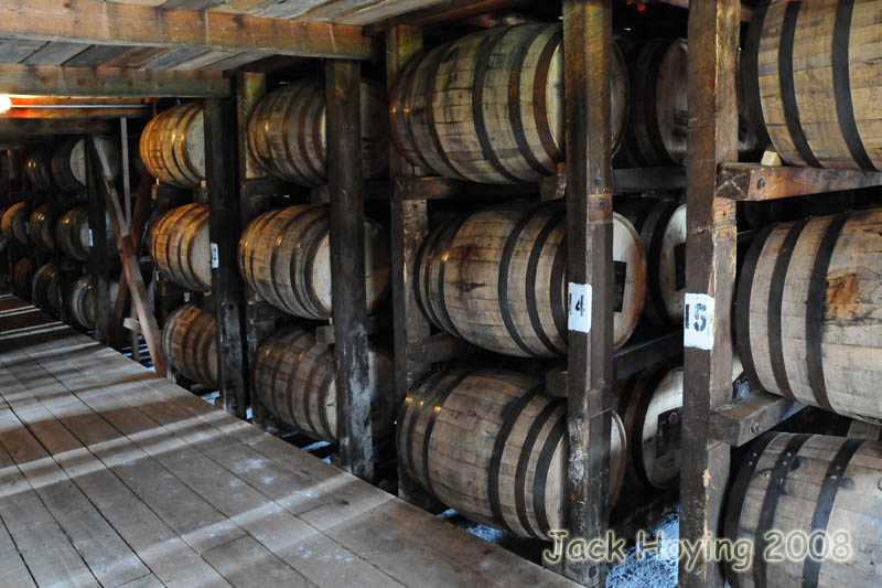 Barrels of Makers Mark in the aging barn