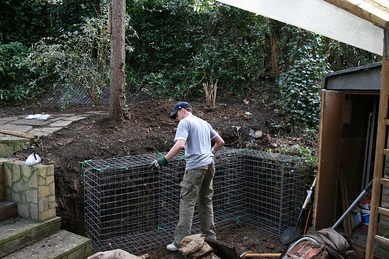 Gabions being assembled