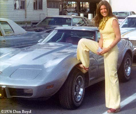1976 - Brenda Reiter and my Corvette at Miami International Airport