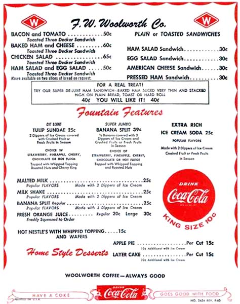 1960s - F. W. Woolworth Co. luncheonette menu