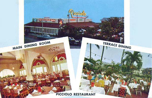 1960s and 70s - Picciolo Italian Restaurant on Collins Avenue, Miami Beach