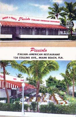 1960s And 70s Picciolo Italian Restaurant On Collins Avenue Miami Beach