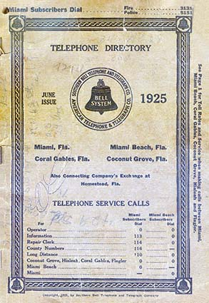 1925 - the Southern Bell Telephone Book for Miami, Miami Beach, Coconut Grove and Coral Gables