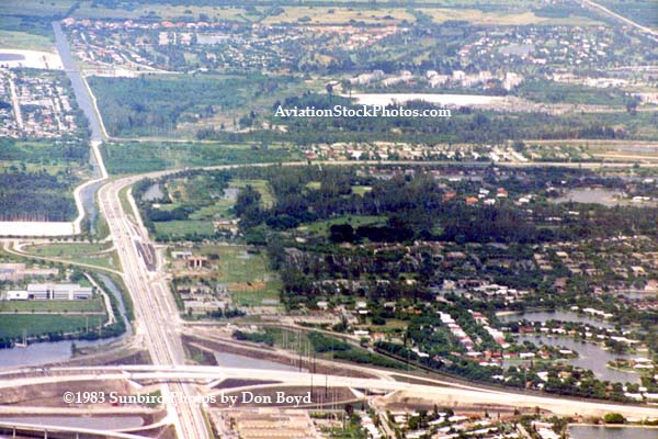 Early 1980s - looking north over the Big Bend of the Palmetto expressway and Miami Lakes