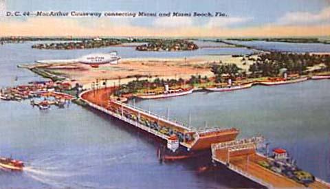 1940s - postcard aerial view of MacArthur Causeway and Watson Island