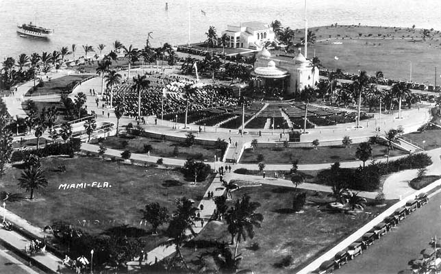 1935 - the southern portion of the filled in Bayfront Park on Biscayne Bay, downtown Miami