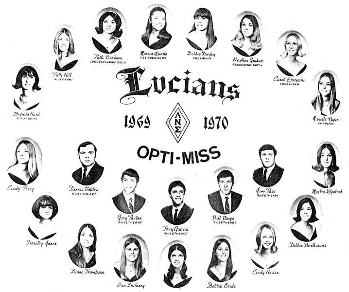 1969 - 1970  the Lucians Club at Miami High School