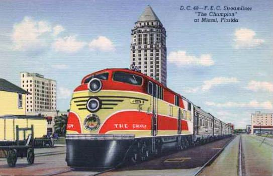 1940 - the Florida East Coast Railways Champion at the downtown Miami railroad station