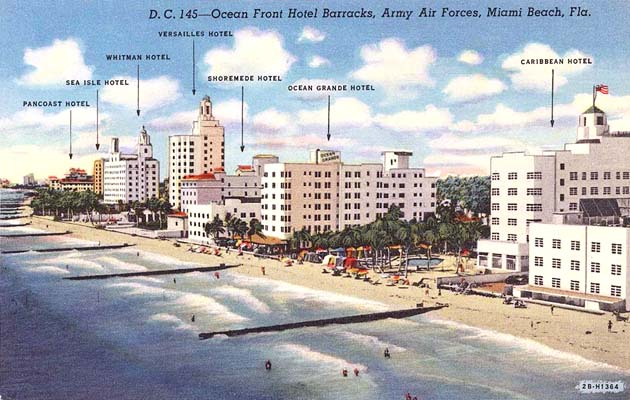 1940s Miami Beach Hotels Used By The Army Air Corps For Training Men War
