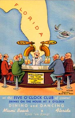 1950s - postcard for the Five OClock Club on Miami Beach