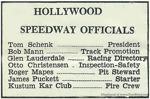 1966 - Hollywood Speedway Officials listed on page 2 of the Hollywood Speedway program
