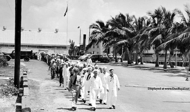 1943 - U. S. Navy sailors marching at the Sub Chaser Training Center at the Port of Miami