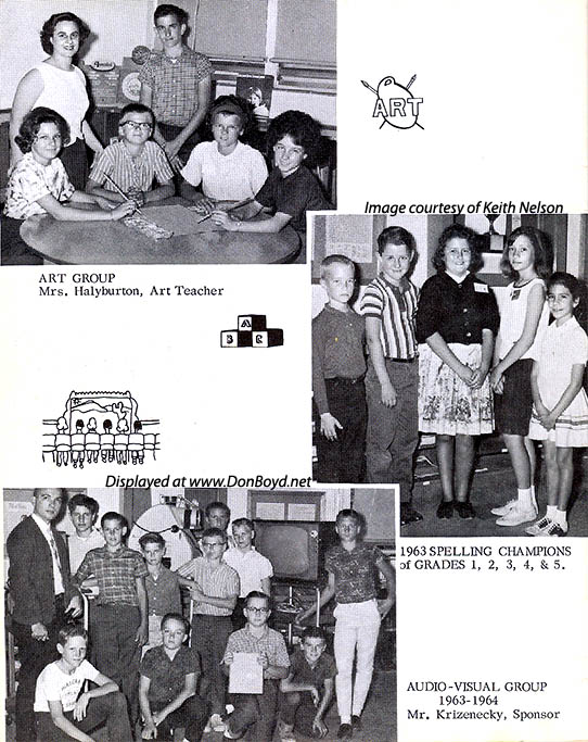 1964 - the Art Group, the 1st thru 5th Grade Spelling Champs and the Audio Visual Group at Dr. John G. DuPuis Elementary School