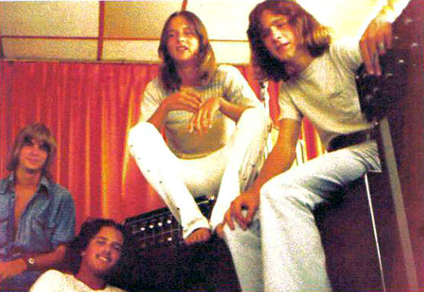 Charles Knight (center) with his buddies in 1973 prior to playing a gig at Shenandoah Junior High