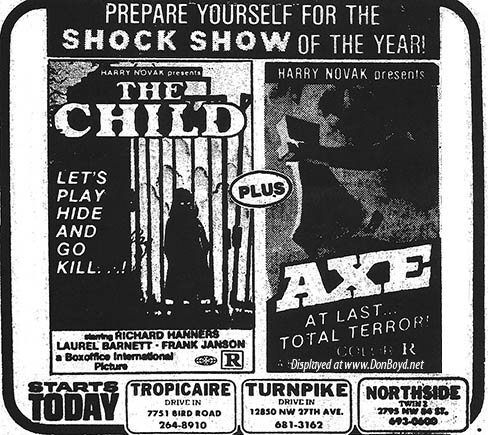 1976 - ad for horror shows playing at the Tropicaire Drive-In, the Turnpike Drive-In and the Northside Twin 2