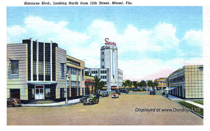 1959 - Biscayne Boulevard looking north at Sears from NE 12th Street, Miami
