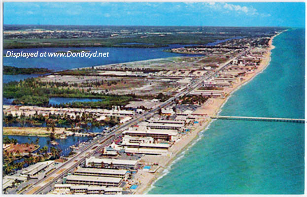 1950s - aerial view looking north at Sunny Isles with the famous fishing pier
