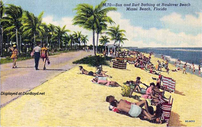 1955 - postcard of sun and surf bathing at Haulover Beach