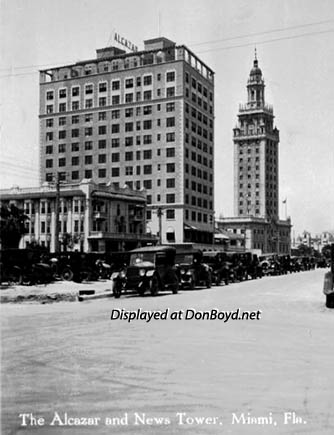 1930s - the Alcazar Hotel and the Miami News Tower on Biscayne Boulevard