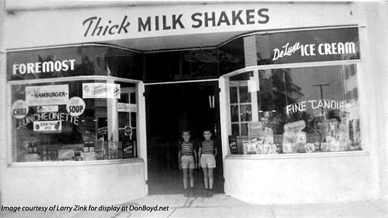 1945 - closeup of Kenny and Larry Zink in front of Zinks Diner at NE 2nd Avenue and 79th Street, Little River