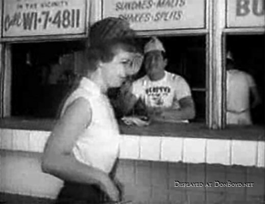 1961 - scene from footage of Miami Undercover TV show at Scottys Drive In Restaurant,16301 Collins Avenue (A1A), Sunny Isles