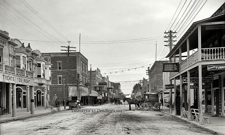 1908 - looking east on 12th Street  (now Flagler Street) at Avenue D (now Miami Avenue) in downtown Miami