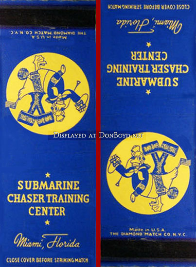 1942 - Matchbook cover for the U. S. Navys Sub Chaser Training Center (SCTC) at Miami