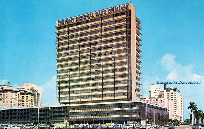 1950s - the new First National Bank of Miami building on Biscayne Boulevard