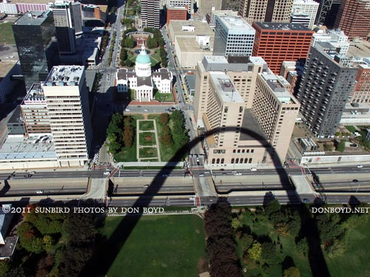 2011 - the old county courthouse and the Hyatt Hotel (in the arch shadow) as viewed from the Gateway Arch