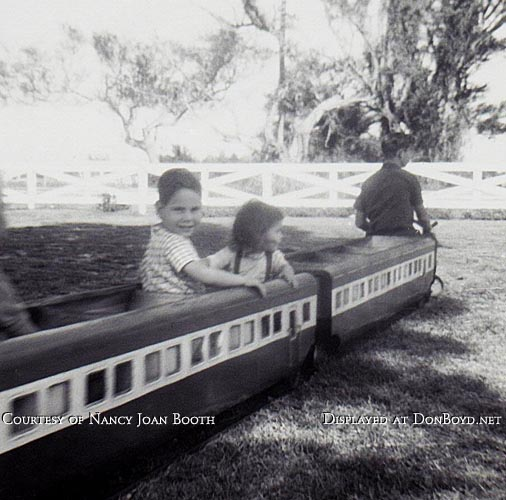 1964 - David and Nancy Joan Booth riding the kiddie train at Dressels Dairy on Milam Dairy Road in Dade County