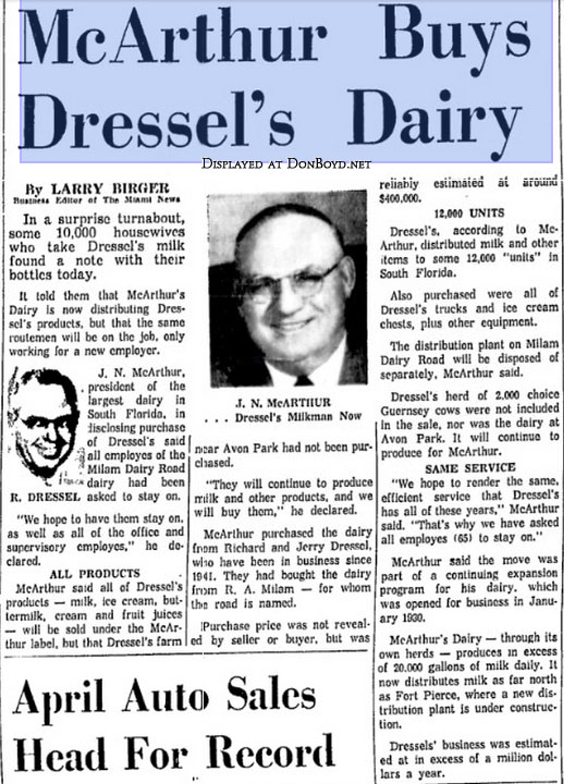 1962 - Miami News article about McArthur Dairy buying out Dressels Dairy on Milam Dairy Road west of the airport