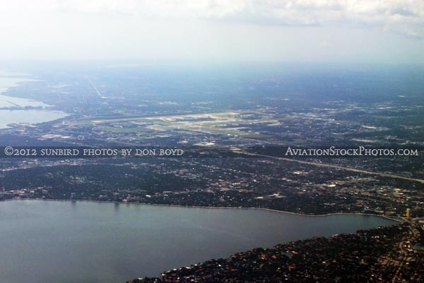 May 2012 - Davis Island (foreground) and Tampa aerial landscape stock photo