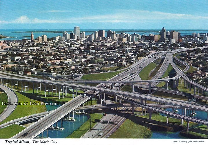 Late 1969 - downtown Miami with the new I-95, SR 836 and I-395 interchange in the foreground