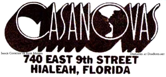 1970s/80s? - advertisement for Casanovas on East 9th Street in Hialeah